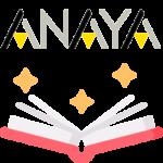 Libro, estrellas y logotipo de ANAYA